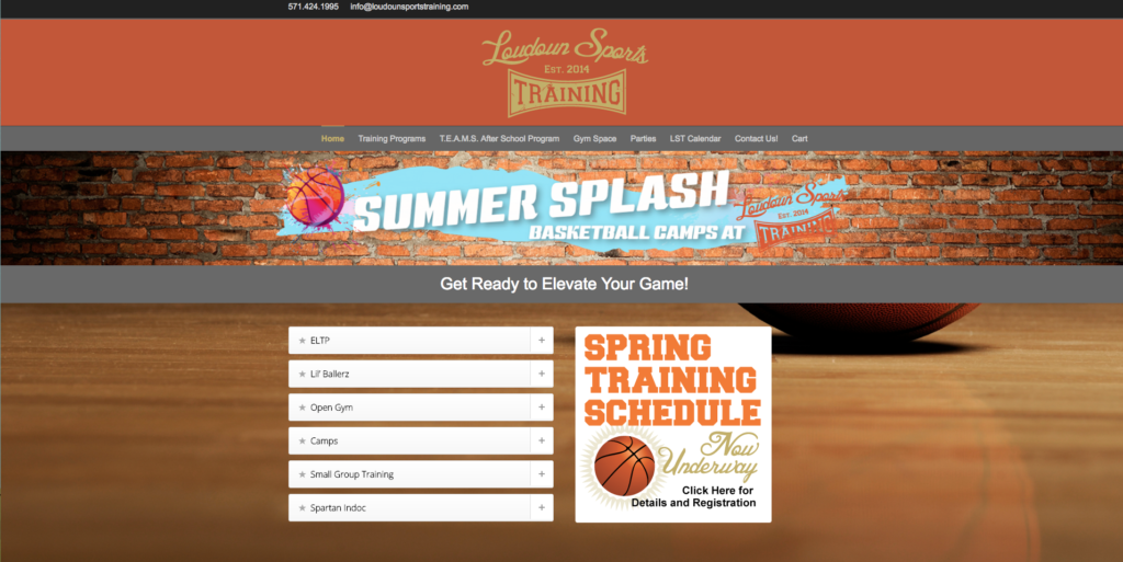 Loudoun Sports Training Website designed by Big Rock Studio