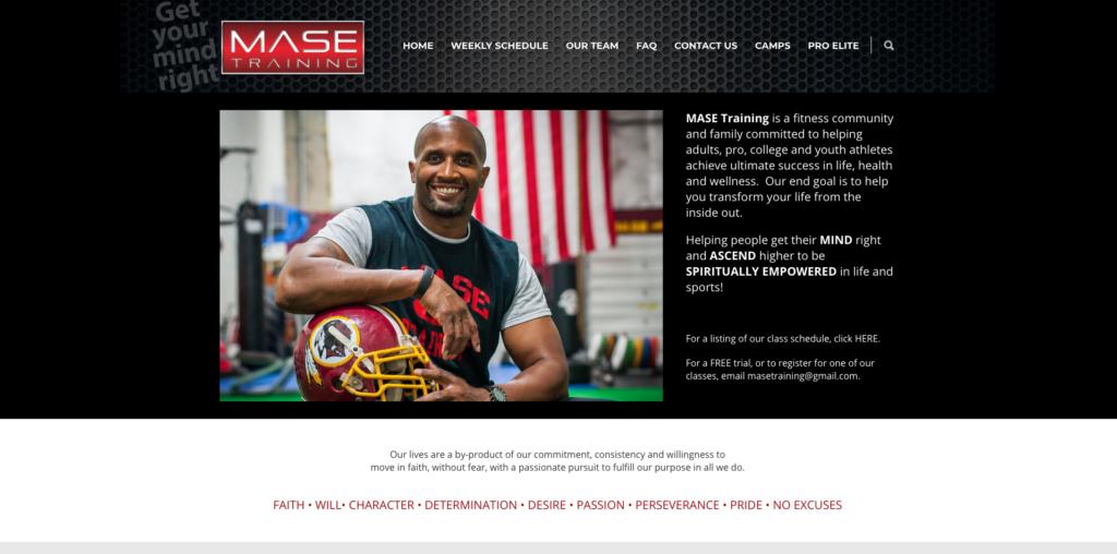Mase Training Website designed by Big Rock Studio